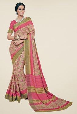 Triveni Beige Printed Art Silk Saree