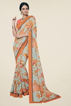 Triveni Grey & Orange Floral Print Art Silk Saree