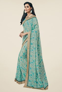 Triveni Grey & Blue Floral Print Art Silk Saree