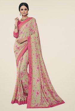 Triveni Beige & Pink Floral Print Art Silk Saree
