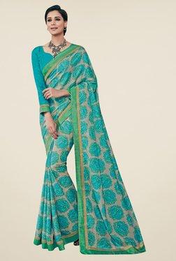 Triveni Beige & Blue Floral Print Art Silk Saree