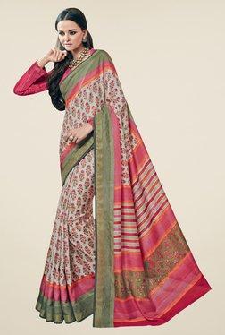 Triveni Beige & Pink Floral Print Art Silk Saree - Mp000000000863687
