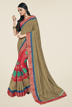 Triveni Red & Beige Floral Print Art Silk Saree