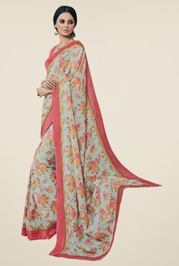 Triveni Grey & Peach Floral Print Art Silk Saree