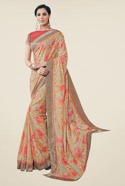 Triveni Beige Floral Print Art Silk Saree - Mp000000000863780
