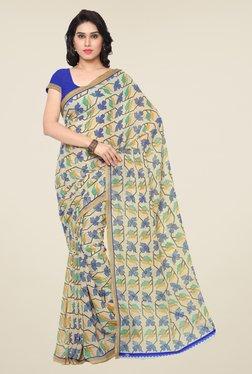 Triveni Beige & Blue Printed Art Silk Saree