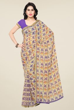 Triveni Beige & Purple Printed Art Silk Saree