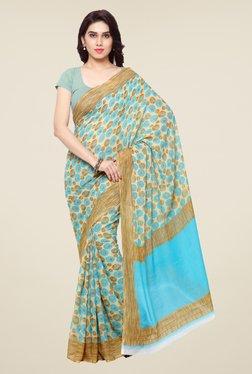 Triveni Sky Blue Printed Art Silk Saree