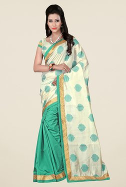 Triveni Green & Off White Printed Art Silk Saree