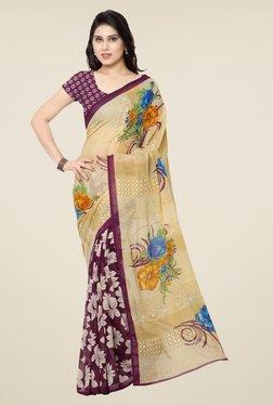 Triveni Purple & Beige Floral Print Faux Georgette Saree