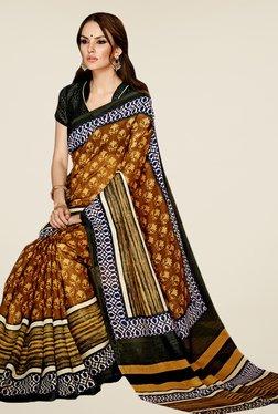 Triveni Brown Printed Art Silk Saree