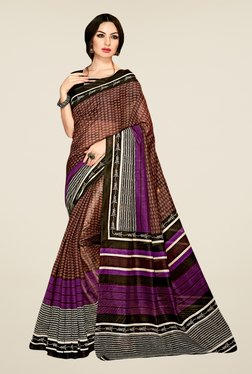 Triveni Brown Printed Art Silk Saree - Mp000000000864126