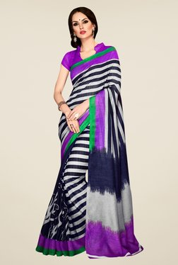 Triveni Navy & Off White Printed Art Silk Saree