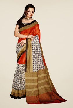 Triveni Orange & Off White Printed Art Silk Saree