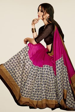 Triveni Magenta & Off White Printed Art Silk Saree