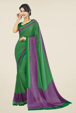 Triveni Green Printed Crape Saree