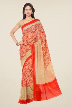 Triveni Red Paisley Print Art Silk Saree