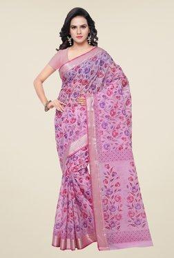 Triveni Pink Floral Print Art Silk Saree
