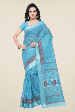 Triveni Sky Blue Printed Art Silk Saree