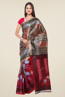 Triveni Maroon & Beige Printed Art Silk Saree