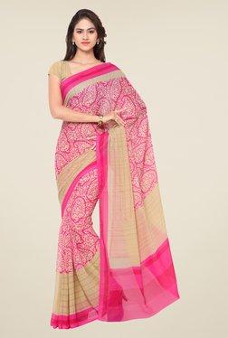 Triveni Pink Paisley Print Art Silk Saree