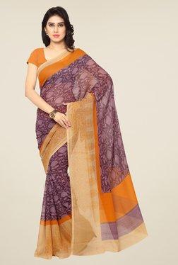 Triveni Purple Floral Print Art Silk Saree