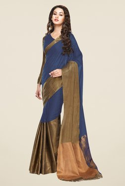 Triveni Blue & Gold Printed Art Silk Saree