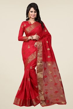 Triveni Red Printed Art Silk Jacquard Saree