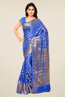 Triveni Blue Printed Art Silk Jacquard Saree