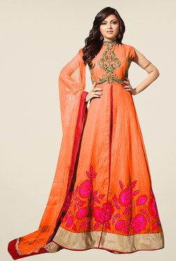 Ethnic Basket Orange Semi Stitched Anarkali