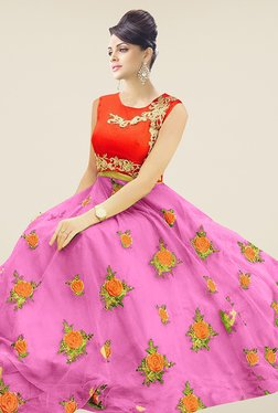 Ethnic Basket Pink & Red Semi Stitched Lehenga Suit