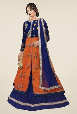 Ethnic Basket Orange & Blue Semi Stitched Indo Western Suit