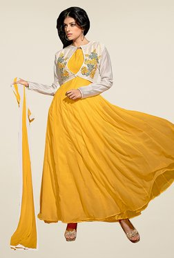 Ethnic Basket Yellow Semi Stitched Anarkali Suit