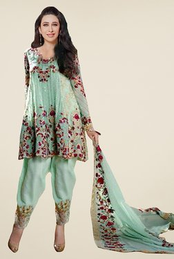 Ethnic Basket Sea Green Unstitched Dress Material