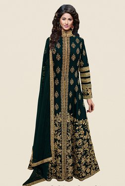 Ethnic Basket Dark Green Semi Stitched Anarkali