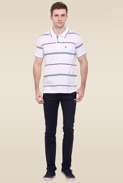 Duke White Short Sleeves Striped T-Shirt