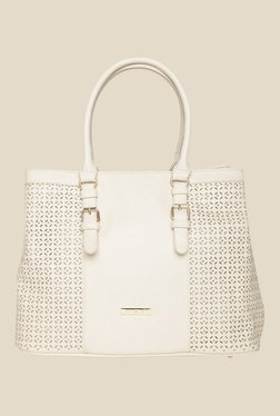 Addons White Laser Cut And Riveted Shoulder Bag