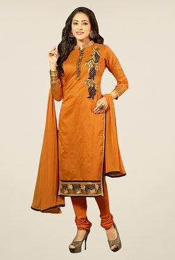 Ethnic Basket Orange Semi Stitched Dress Material