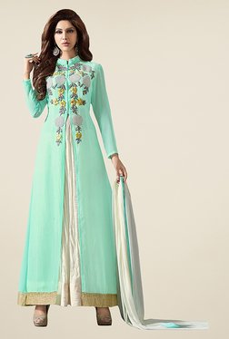 Ethnic Basket Sea Green & White Semi Stitched Anarkali Set