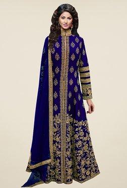 Ethnic Basket Dark Blue Semi Stitched Anarkali