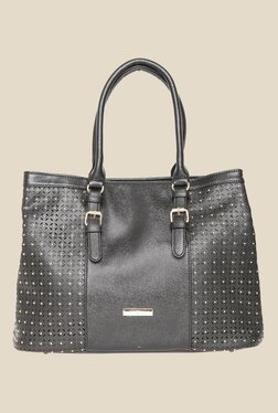 Addons Black Laser Cut And Riveted Shoulder Bag