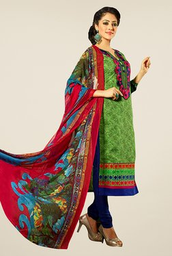 Ethnic Basket Green & Blue Semi Stitched Dress Material