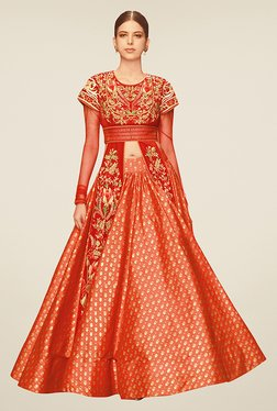 Ethnic Basket Red Semi Stitched Indo Western Suit