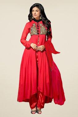 Ethnic Basket Red Semi Stitched Anarkali Suit