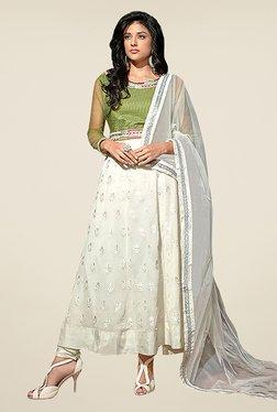 Ethnic Basket Off White Semi Stitched Anarkali Suit