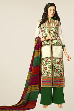 Ethnic Basket Cream & Green Semi Stitched Palazzo Suit