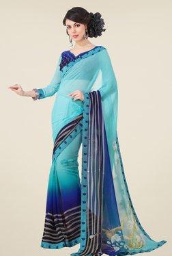 Triveni Sky Blue Printed Faux Georgette Saree