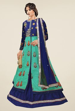 Ethnic Basket Teal & Blue Semi Stitched Indo Western Suit