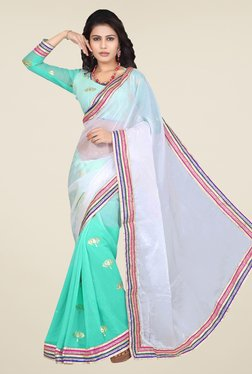 Triveni Green & White Printed Faux Georgette Art Silk Saree