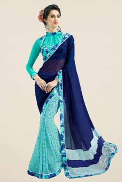 Triveni Sky Blue Printed Faux Georgette Saree - Mp000000000867389